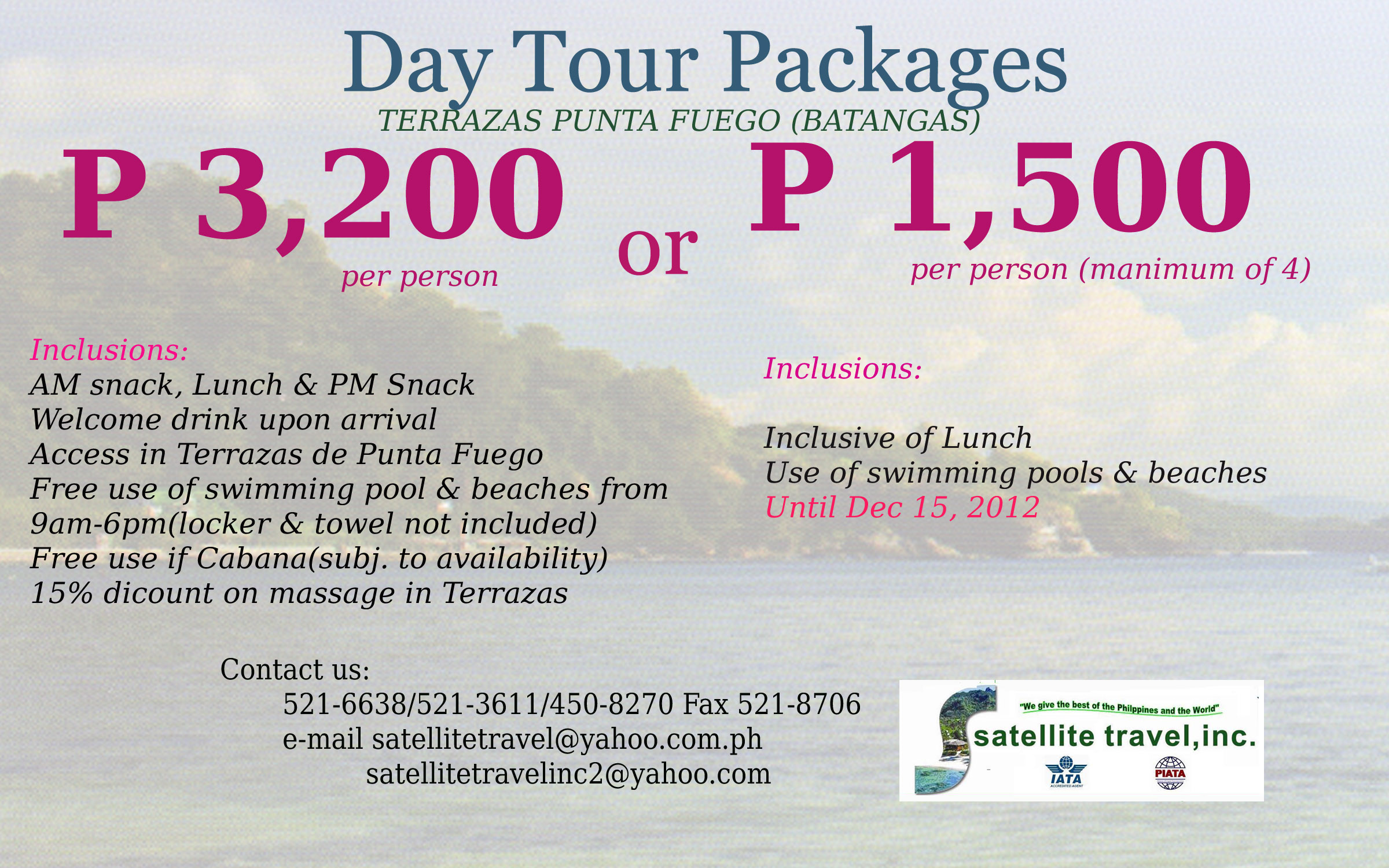 Day Tour Package Terrazas Punta Fuego Batangas Satellite