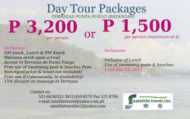 Day Tour Package Terrazas Punta Fuego Batangas Satellite