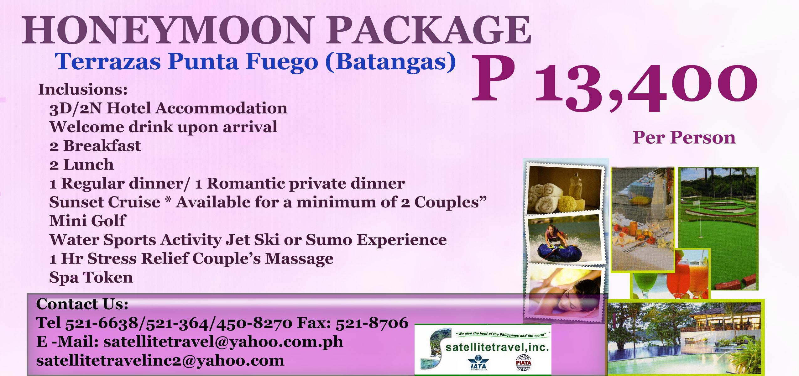 Honeymoon Package P 13 400 Per Person Terrazas Punta Fuego